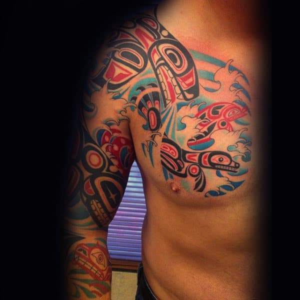 Sea Creature Haida Tattoo Male Arms