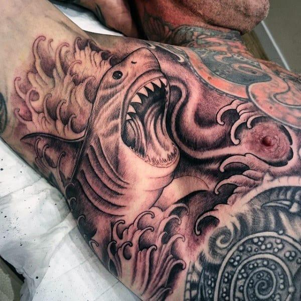 Sea Creature In Sepia Tattoo Male Armpits