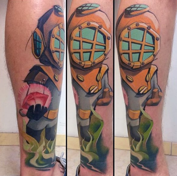 Sea Diver Holding Diamond Graffiti Mens Tattoos Design