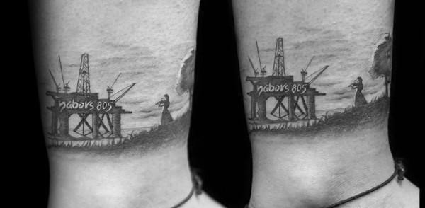 Sea Oilfield Mens Lower Leg Tattoo Designs