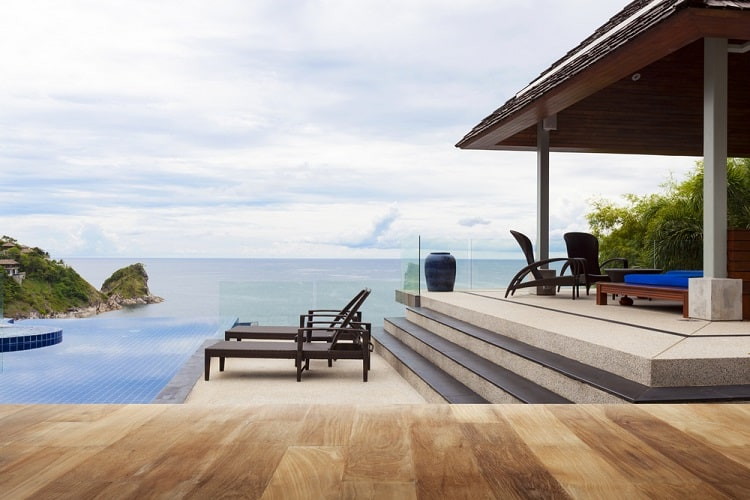 Sea View Outdoor Multilevel Above Ground Pool Deck