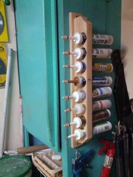 Sealant And Caulk Tubes Tool Storage Ideas Made Out Of Pvc Tube And Wood