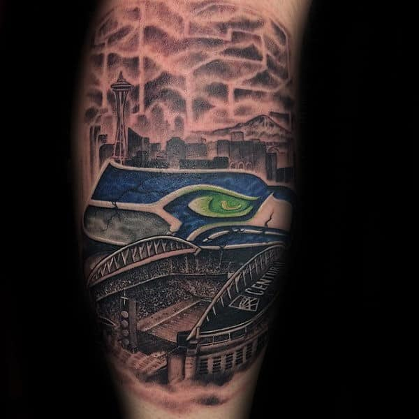 Seattle Skyline With Seahwaks Stadium Mens Leg Tattoos
