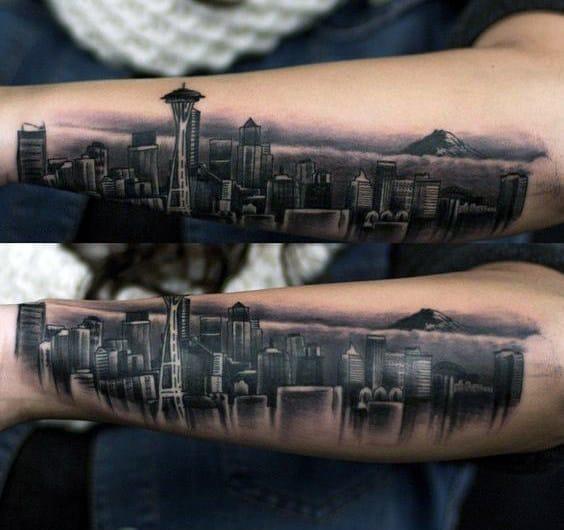 30 seattle skyline tattoo designs for men city ink ideas. Black Bedroom Furniture Sets. Home Design Ideas