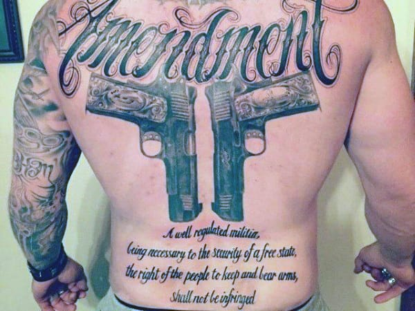 Second Amendment We The People Mens Back Tattoo