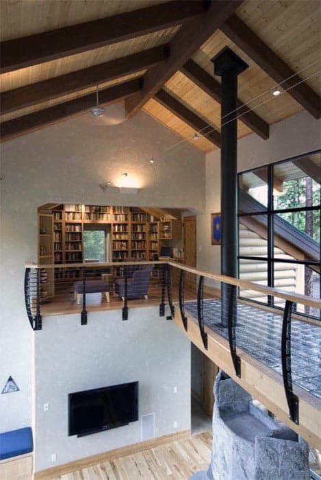 Second Story Private Home Library Reading Nook Design