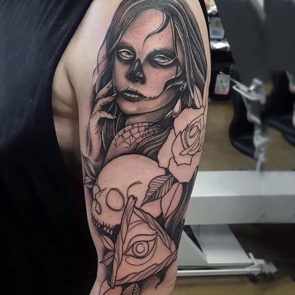 Seductive Mexican Lady Day Of The Dead Tattoo Mens Arms