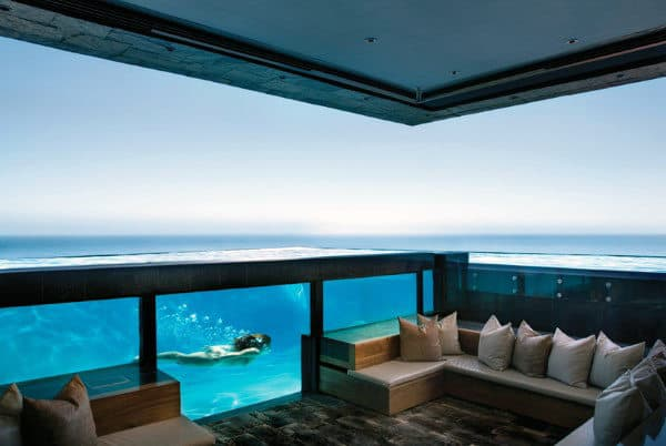 See Through Glass Home Swimming Pool With Lounge