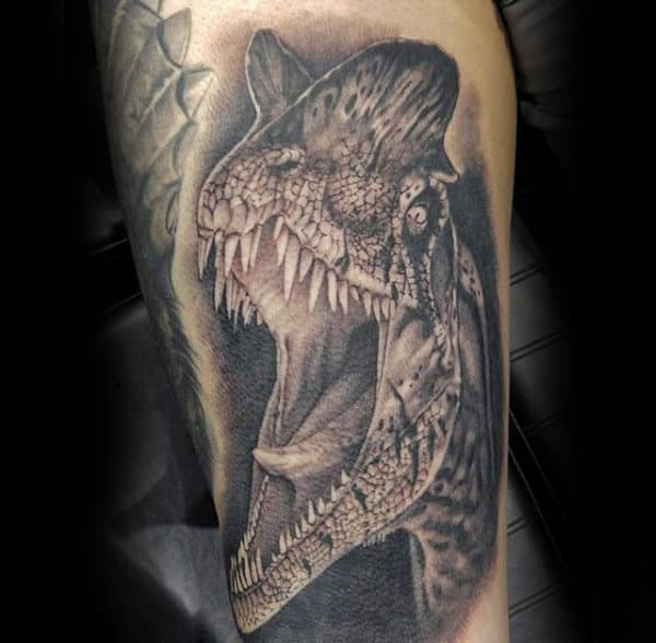 Seething Grey Dinosaur Tattoo Forearms