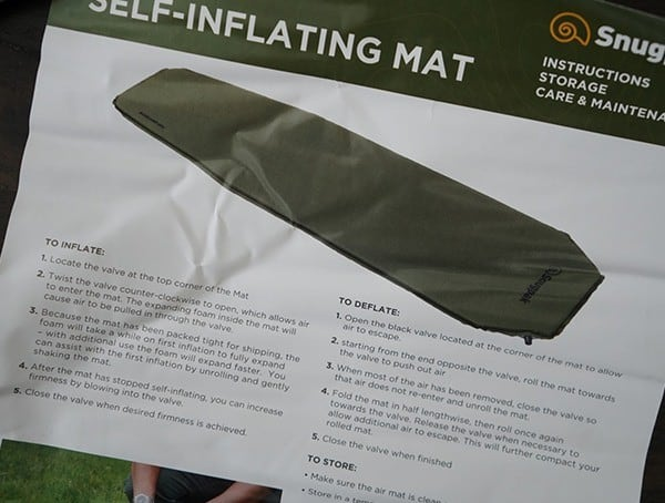 Self Inflating Sleeping Pads For Camping Snugpak Basecamp Ops Mat
