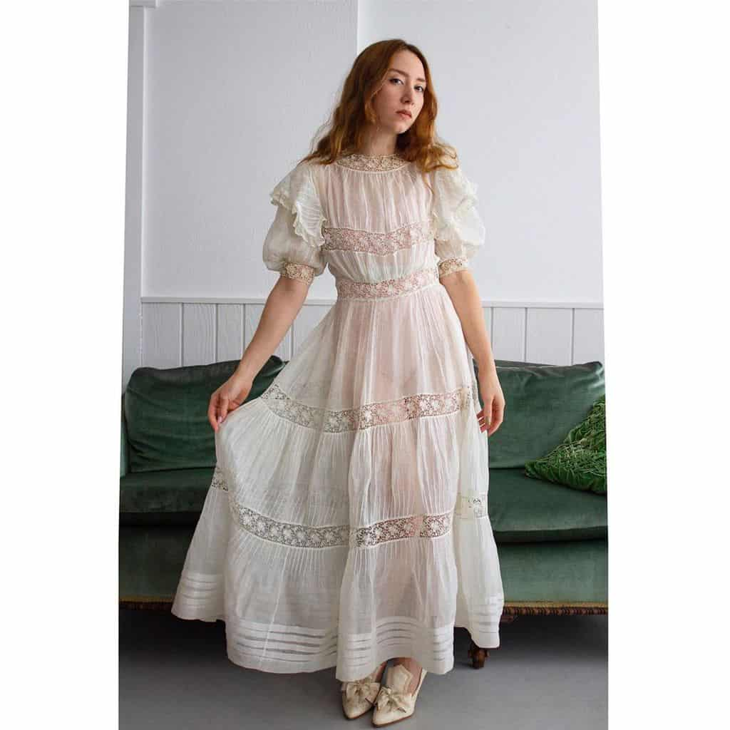 Semi Sheer White Victorian Dress