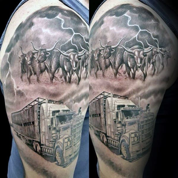 Semi Truck Mens Cattle Half Sleeve Tattoo