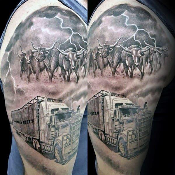 Semi Truck Mens Cattle Half Sleeve Tattoo