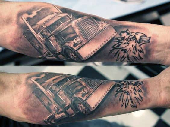 Semi Truck With Smoking Stacks Mens Inner Forearm Tattoos