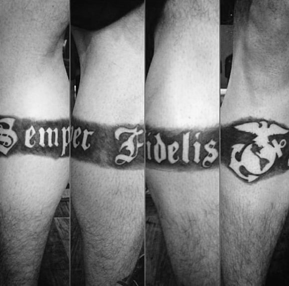 Semper Fi Mens Military Leg Band Tattoo With Negative Space Design