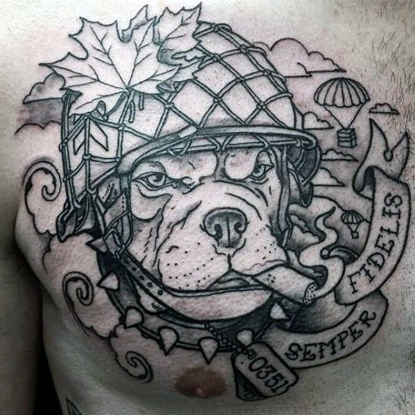 Semper Fidelis Bulldog Mens Chest Tattoos