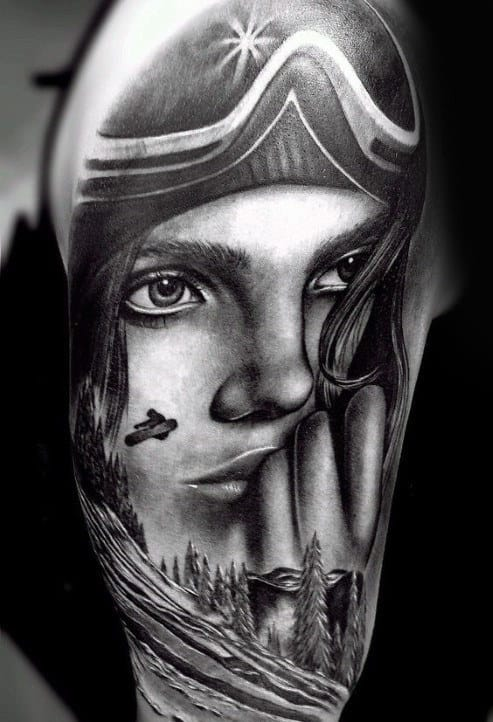 Sensual Lady And Snowboarding Tatto Mens Arms
