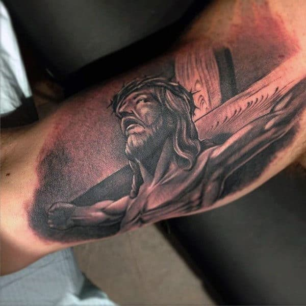 Sepia Colored Lord On The Cross Religious Tattoo For Men
