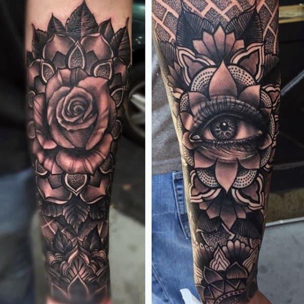 Sepia Rose Illuminati Tattoo Male Forearms
