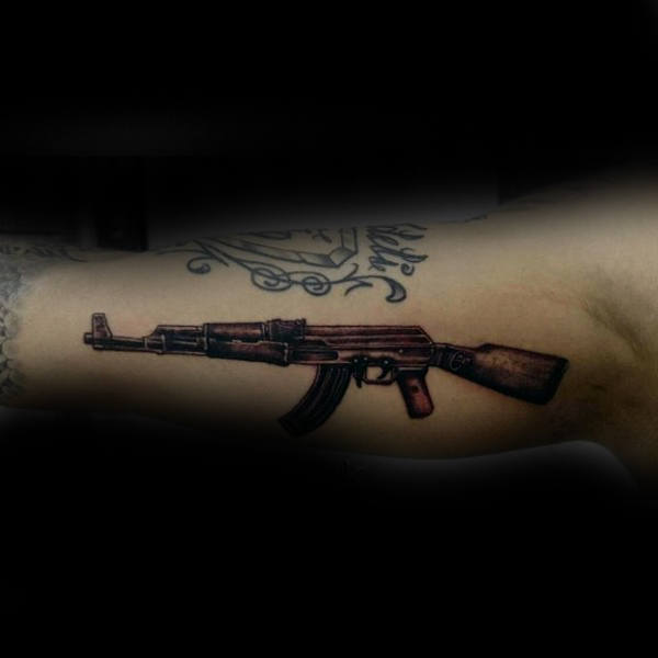 Sepia Toned Ak 47 Tattoo Male Forearms
