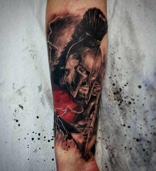 Sepia Toned Powerful Warrior Tattoo Guys Forearms