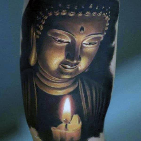 Serene Japanese Buddha With Candle Flame Tattoo On Arms For Men