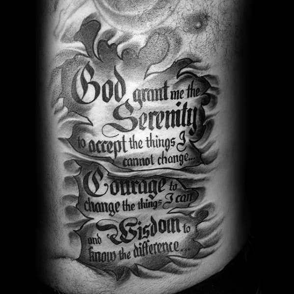 Serenity Prayer Male Rib Quote Tattoo Design Ideas