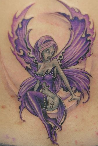 Sexy Girl Colored Fairy Tattoo