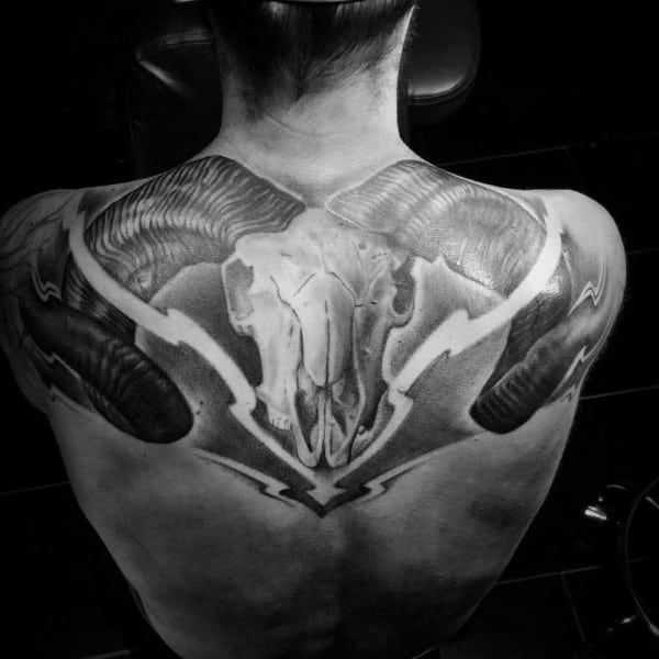 Shaded 3d Aries Ram Skull Back Tattoo On Male
