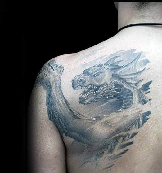 Shaded 3d Dragon Shoulder Blade Tattoos For Men