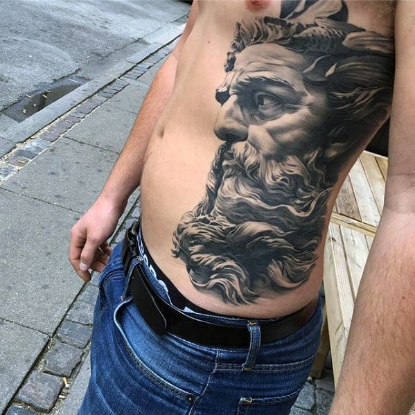 Shaded 3d Greek God Mens Badass Side Of Chest Tattoos