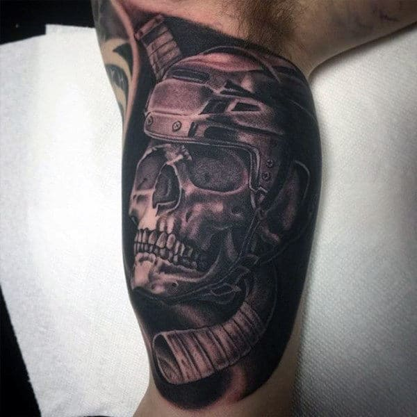 Shaded 3d Hockey Skull Guys Inner Arm Half Sleeve Tattoo
