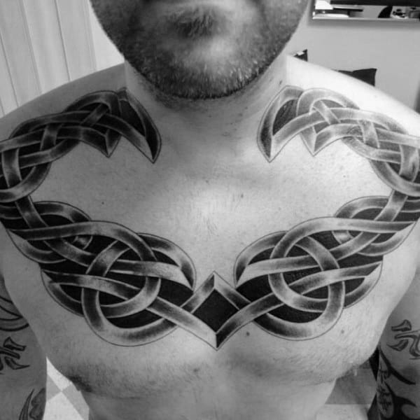 Shaded 3d Mens Upper Chest And Collarbone Celtic Knot Tattoos