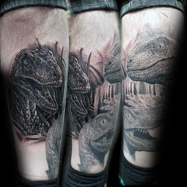 Shaded 3d Mens Velociraptor Leg Tattoos
