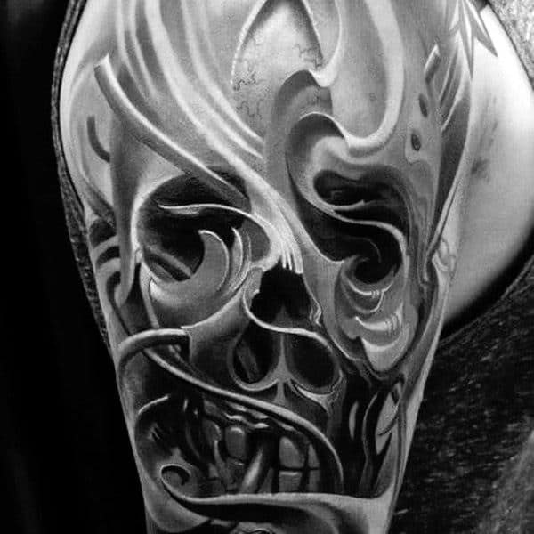 Shaded 3d Ornate Skull Creative Guys Half Sleeve Tattoo