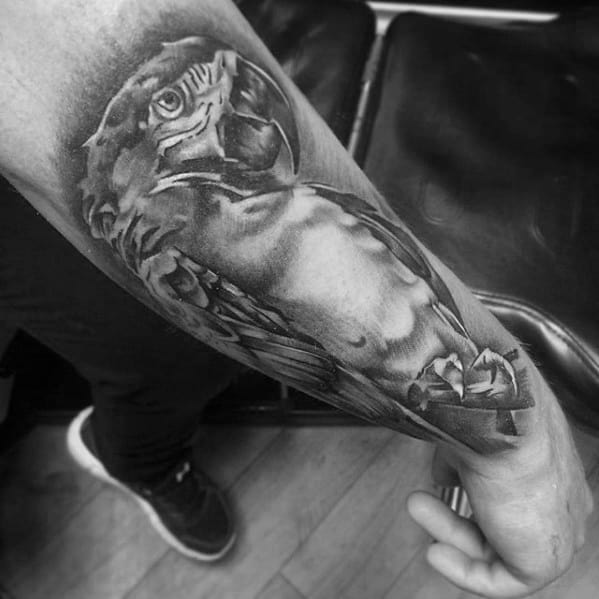 Shaded 3d Outer Forearm Awesome Black And Grey Ink Parrot Tattoos For Men