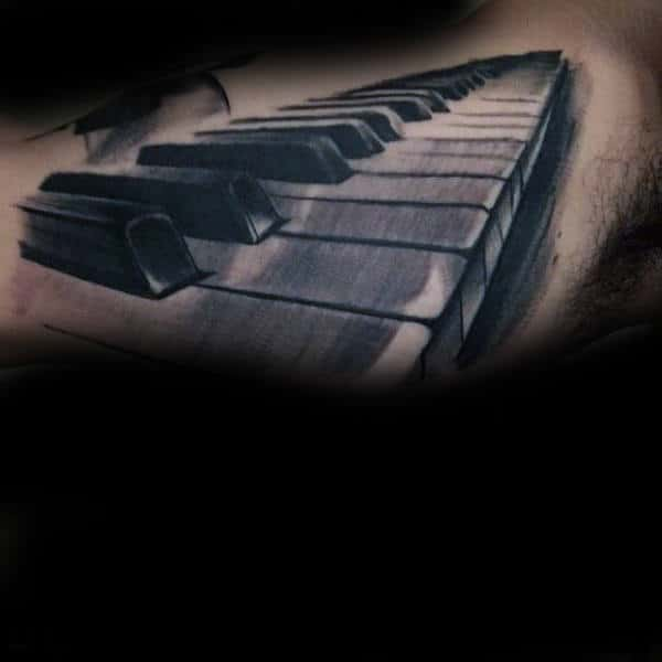 Shaded 3d Piano Male Tattoo Design Inspiration