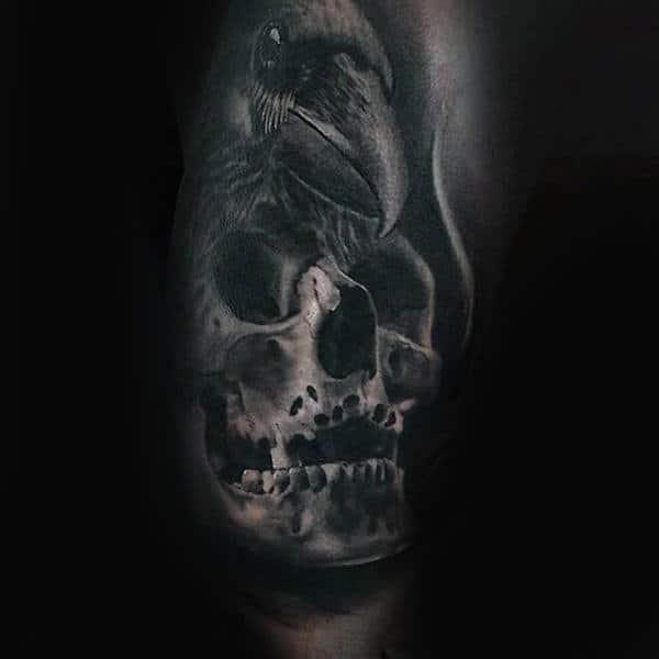 Shaded 3d Skull And Rose Guys Half Sleeve Tattoo Ideas