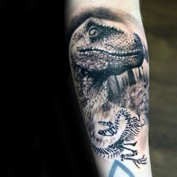 Shaded 3d Velociraptor With Skeleton Mens Inner Forearm Shaded Tattoos