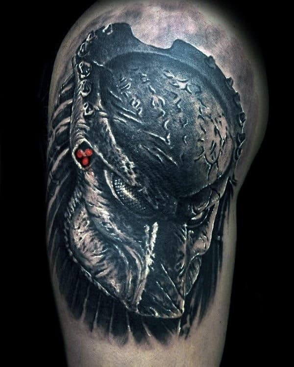Shaded Alien Vs Predator Upper Arm Male Tattoos