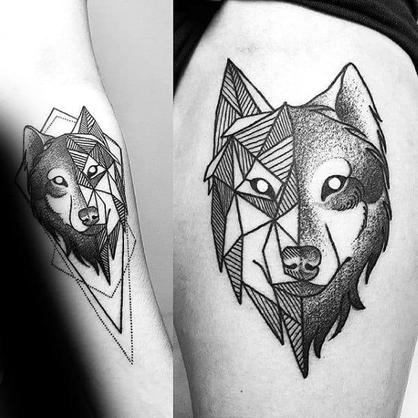 Shaded And Linework Geometric Wolf Mens Forearm Tattoo Inspiration