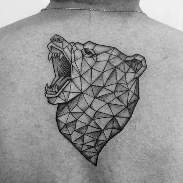 Shaded Angry Geometric Bear Guys Upper Back Tattoo