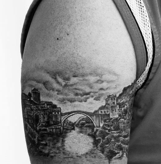 Shaded Arc Bridge Mens Arm Tattoo