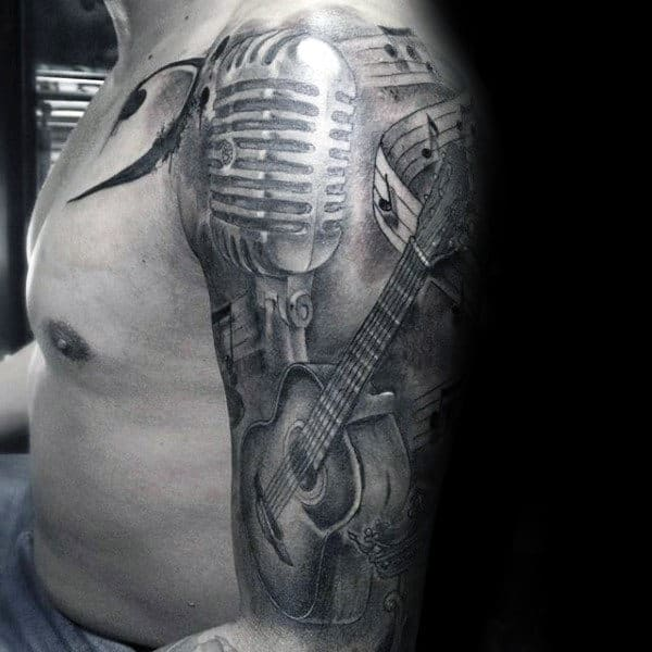 Shaded Awesome Guys Music Sleeve Black And Grey Ink Tattoos