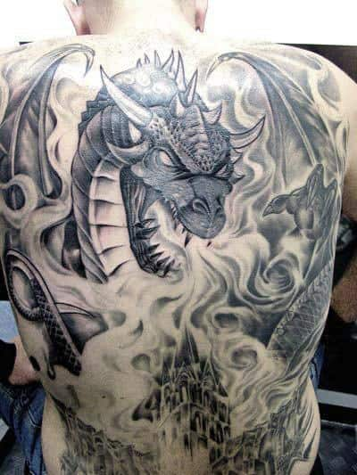 Shaded Back Dragon Blowing Flames Mens Tattoo Ideas