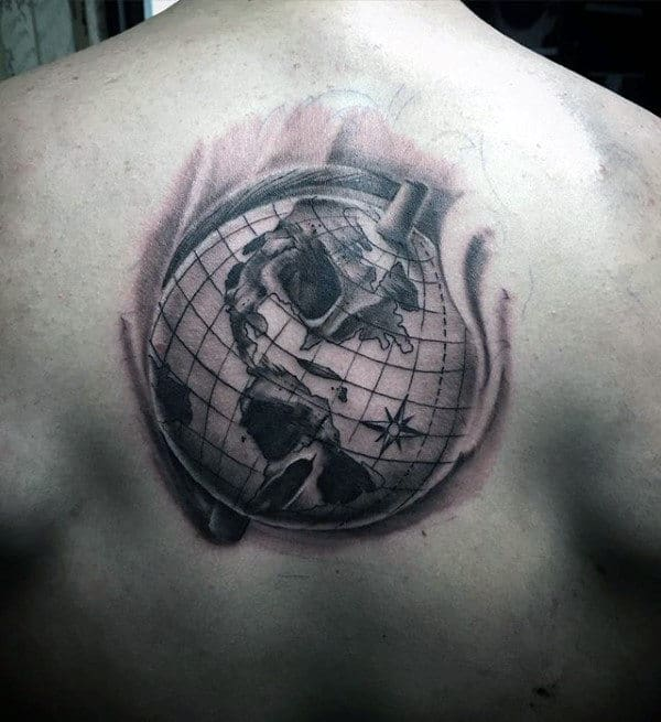 Shaded Back Globe With Skull Optical Illusion Mens Tattoos
