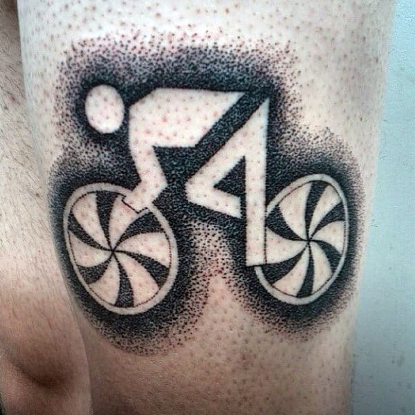 Shaded Bicycle Tattoo Male On Thighs
