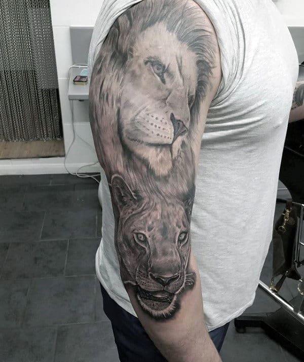 Shaded Big Cats Mens Lion Half Sleeve Tattoo Inspiration