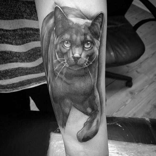 Shaded Black And Grey 3d Forearm Cat Tattoos For Guys