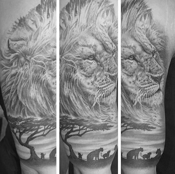 Shaded Black And Grey Africa Safari Lion Mens Half Sleeve Tattoo